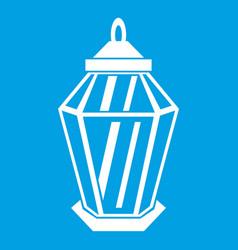 Arabic lantern icon white vector