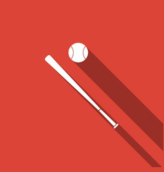 baseball ball and bat icon with long shadow vector image