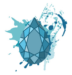 beautiful blue diamonds shapes on blue watercolor vector image