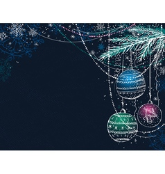 blue christmas background with christmas balls vector image