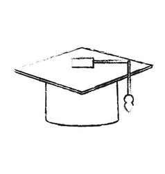blurred silhouette image graduation cap vector image
