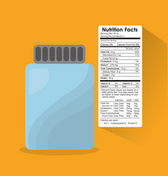 Bottle glass nutrition facts sticker information vector