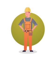 builder man icon engineer occupation contractor vector image