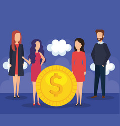 business people with coin money vector image