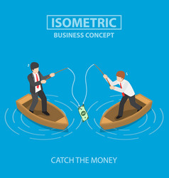 Business trying to catch dollar bill fishing vector