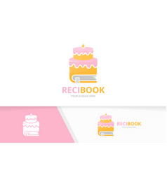 Cake and book logo combination pie and vector