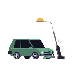 Car crash vehicle hits streetlight road accident vector