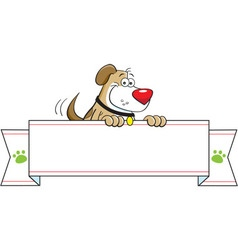 Cartoon dog holding a banner sign vector image