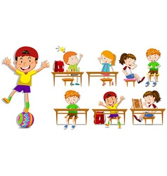 Children at their desks vector image
