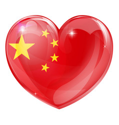 china flag love heart vector image
