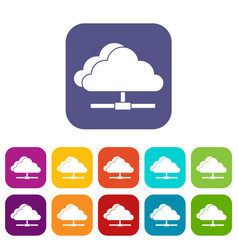 Cloud computing connection icons set vector