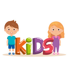 Couple little kids with word characters vector