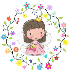 Cute princess in a flowers frame vector