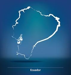 Doodle map of ecuador vector