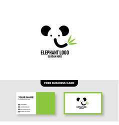 Elephant head leaf leaves tree logo design vector