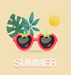 exotic summer sunglasses with tropical leaves vector image
