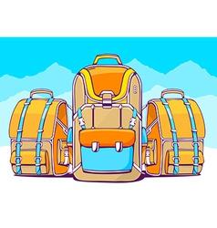 fashion backpacks on blue winter backgrou vector image