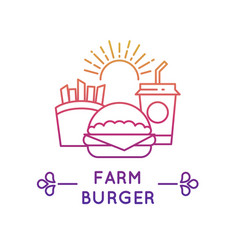 Fast food restaurant and cafe logo fresh vector