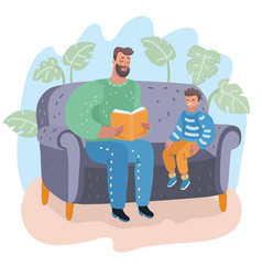 father reading book to his son child education vector image