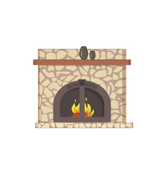fireplace with wooden shelf and decor vases icon vector image