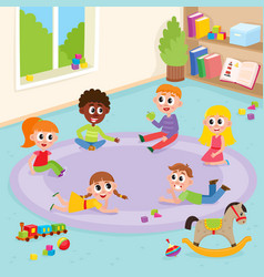 flat boys and girls playing in kindergarten vector image