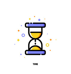 flat icon of hourglass for business time concept vector image