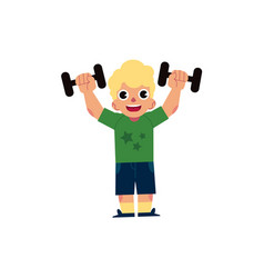flat kid boy doing dumbbell workout vector image