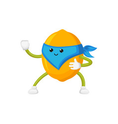 Flat lemon ninja character in mask vector