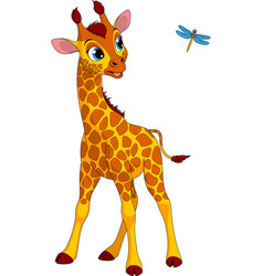 Funny little giraffe and dragonfly vector