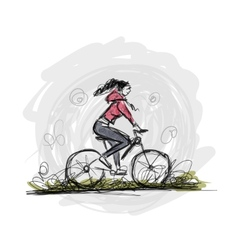 Girl cycling sketch for your design vector