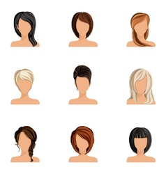 Girl hair style set vector image vector image