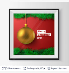 golden decorative toy ball and fir tree border vector image