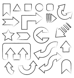 Hand drawn sketch arrows set vector