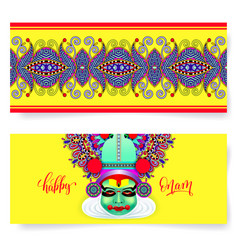 happy onam holiday horizontal greeting card banner vector image