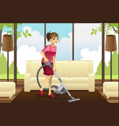 Housewife vacuuming carpet vector
