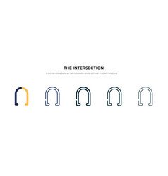 Intersection icon in different style two vector