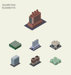 Isometric urban set of industry office warehouse vector