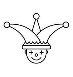 Jester face hat icon outline style vector