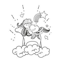 Line sleeping boy riding unicorn with heart vector