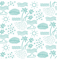 linear monochrome seamless summer pattern for vector image