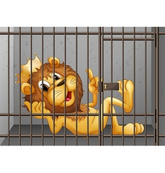 Lion being locked in the cage vector