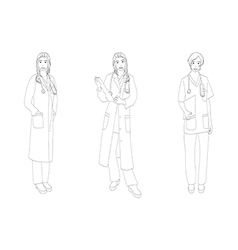 Medical Staff Woman Full Body vector
