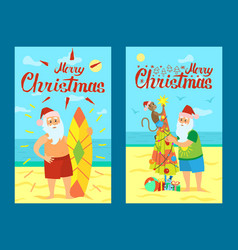 merry christmas santa claus and surfing board xmas vector image