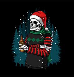 Merry christmas winter skull vector