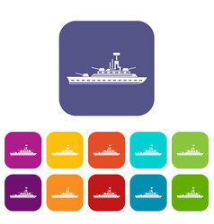 Military warship icons set vector