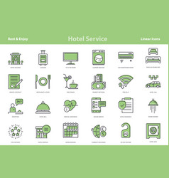 mint colored outline icon set - hotel vector image