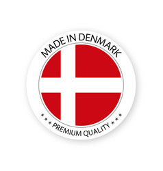 Modern made in denmark label danish sticker vector