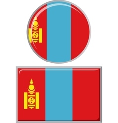 Mongolian round and square icon flag vector image