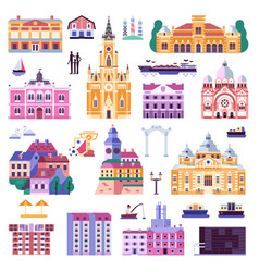 Novi sad old town icons in flat vector