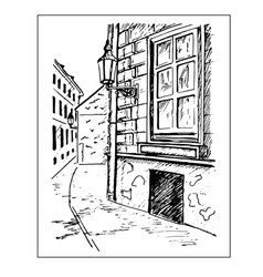 Old town street window and lantern hand drawn vector